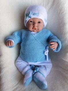 ensemble bébé bonnet brassière chaussons en laine , cadeau de naissance : Mode Bébé par bebelaine