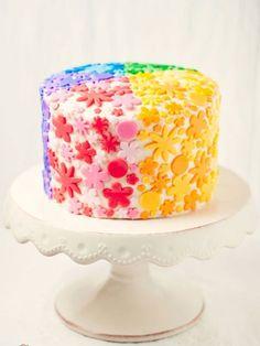 Rainbow Flowers Cake