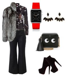 """Silent Night"" by dawn-wickham on Polyvore featuring RED Valentino, Michael Kors, N.Peal, Christian Louboutin, Anya Hindmarch, Casetify, women's clothing, women's fashion, women and female"
