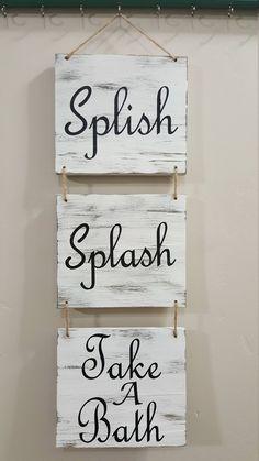 Serenity Bath Towels Bathroom Wooden Wall Art Sign Spa powder room decoration