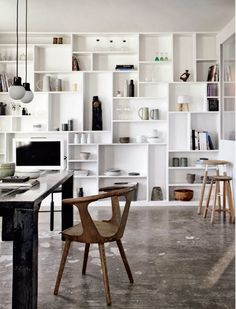 Great, decorative bookcase thanks to the many irregular shelves! Full Wall Bookcase of Painted MDF in Renovated Farmhouse in Denmark, Remodelista Interior Windows, Home Interior, Interior Decorating, Danish Interior, Decorating Ideas, Decor Ideas, Sweet Home, Muebles Living, Farmhouse Remodel