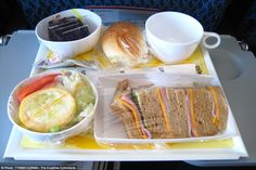 Sandwiches for lunch: Aero Mexico's New York to Mexico City repast of ham and cheese sandw...