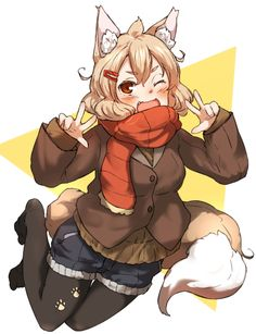 1girl ;d amonitto animal_ears black_legwear blush buttons coat double_v fang fox_ears fox_tail full_body hair_ornament hairclip kitsune long_sleeves looking_at_viewer no_shoes one_eye_closed open_mouth original pantyhose paw_print red_eyes red_scarf scarf short_hair shorts smile solo tail v winter_clothes winter_coat