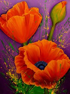 """ROCK ~N~ ROLL PETTICOATS   The Magic of Poppies Series  No. 1 in Series  30"""" x 40""""  Acrylic  Copyright © Mary Anne Strachota"""