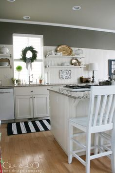 christmas house tour: kitchen with open shelves