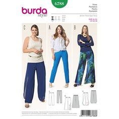 Burda 6788 - Pull-on pants in a new summery interpretation. The slender basic jersey pants a shouldn't be missing in your wardrobe anyway. Variants B and C have an over-pant from light woven fabric, with side slits. A Burda Style sewing pattern.