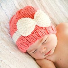 Knitted Baby Bow Hat - Free Pattern