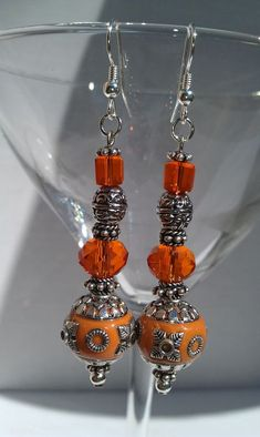 Tangerine Bollywood Embellished dangle earrings by LilaRoseJewelry, $27.00#Jewelry #handmade #Fashion #Beads #womensfashion #glamour