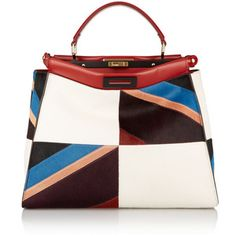 Fendi Peekaboo large leather-trimmed patchwork calf hair tote