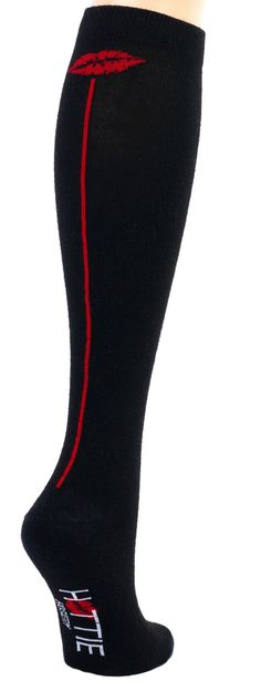 MADE IN USA -Hottie Hosiery Women's Red Lip Knee High Socks One Size Black/Red at Amazon Women's Clothing store: