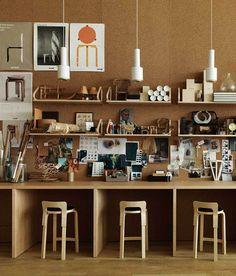 office stations + huge corkboard wall!