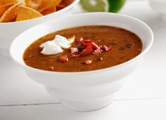 This hearty Black Bean and Chorizo Soup is great on a cold day - Diabetic Gourmet Magazine - Diabetic Recipe DiabeticGourmet.com