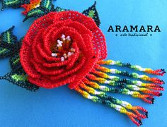 Mexicana Huichol moldeado rojo rosa flor collar CFG-0020 Red Rose Flower, Red Roses, Flower Necklace, Crochet Necklace, Jewelry Art, Beaded Jewelry, Mexican Jewelry, Bead Art, Pottery
