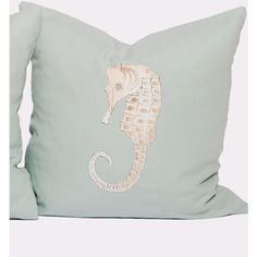 Jamie Dietrich Handpainted Seahorse Pillow - Seafoam ($205) ❤ liked on Polyvore featuring home, home decor, throw pillows, seahorse throw pillow and seahorse home decor