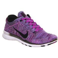 Nike Free Tr Flyknit ($160) ❤ liked on Polyvore featuring shoes, athletic shoes, hers trainers, trainers, vivid purple black fuschia, fuchsia shoes, athletic running shoes, woven shoes, black shoes and nike footwear