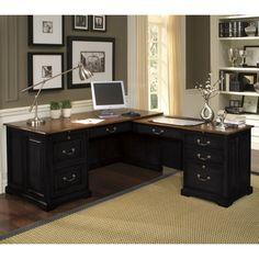 Riverside Bridgeport L-Shaped Computer Desk - Desks at Hayneedle
