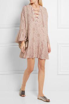 IRO | Ralene lace-up chiffon and tulle mini dress | NET-A-PORTER.COM