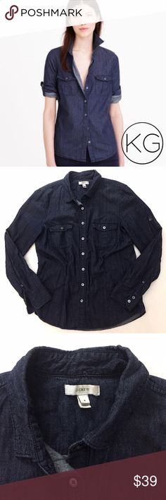 """J. Crew Keeper Chambray Button Down in Dark Blue In great pre-owned condition! •Women's size 8 •100% Cotton Chambray •20"""" from underarm to underarm, 26"""" from shoulder to hem •Slightly oversized boyfriend fit •Retail $78 ✔️Make me an offer! ✔️ 🚫no trades nor lowball offers🚫 Thank you for shopping in my closet!! J. Crew Tops Button Down Shirts"""