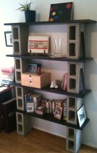 homemade bookshelves... not sure if I love it but it's a fresh idea.