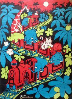 Original Seventies 1970s Jungle Nursery Poster by Thepapermuseum