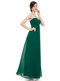 Ever Pretty Juniors Ruched Bust Strapless Winter Formal Dress 12 US Green