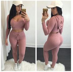 Women Crop Tops Long Pants Clothing Set Sexy Two-piece Clubwear Bodycon Jumpsuit Bodycon Jumpsuit, Pink Jumpsuit, Cotton Jumpsuit, Playsuit Romper, Fitted Jumpsuit, Casual Outfits, Cute Outfits, Fashion Outfits, Womens Fashion