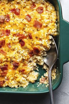 This cheesy loaded cauliflower rice casserole is a quick and easy low carb and keto side dish you will be making over and over again! We use riced cauliflower for maximum cheese to cauliflower ratio. Cauliflower Rice Casserole, Cauliflower Recipes, Riced Cauliflower, Keto Casserole, Casserole Recipes, Cauli Rice, Vegetable Casserole, Cauliflower Cheese, Vegetable Salad
