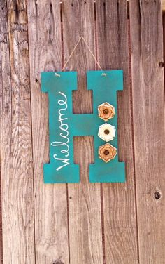 Distressed monogram welcome sign- front door hanging- welcome sign by CozyCasa on Etsy