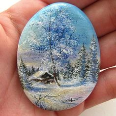 Winter scene on painted stone