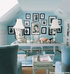 Blue and White Feminine Office
