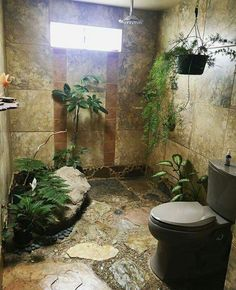 Bathroom shower plants greenery nature hippie natural wild