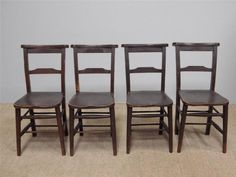 Set of 4 Antique Chapel Church Chairs NATIONWIDE DELIVERY ref02