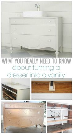 How to make a dresser into a bathroom vanity. These are the details you really need to know to do it yourself.