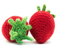 Sweet and succulent, strawberries signal the start of summer. With small white blooms and bright red fruit, strawberries make their way into pies, desserts and drinks. Enjoy these crochet strawberries any way you want! Crochet Strawberry, Knitting Patterns, Crochet Patterns, Crochet Needles, Red Fruit, Cool Toys, Strawberries, Ravelry, Craft Supplies