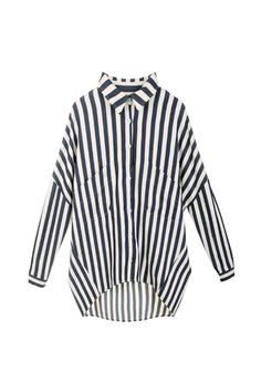 Anomalous Contrast Colour Stripe Shirt    $79.99  romwe.com  #romwe