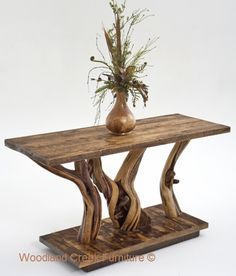 Rustic Log Console Table by Woodland Creek Furniture in Custom Sizes & Finishes.