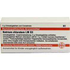 LM NATRIUM CHLORATUM XII Globuli:   Packungsinhalt: 5 g Globuli PZN: 02678491 Hersteller: DHU-Arzneimittel GmbH & Co. KG Preis: 7,80 EUR…