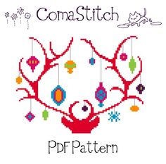Reindeer Christmas Cross Stitch Pattern PDF Instant by ComaStitch