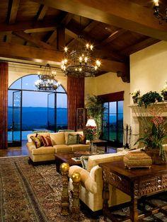 Mediterranean Living Room Chandelier Design
