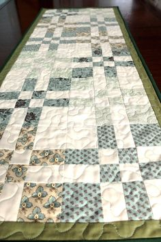 Patchwork Quilted Green U0026 Cream Table Runner Sage By StephsQuilts