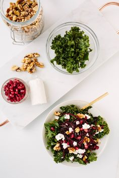 Winter Kale Bowl with Spiralized Beets and Goat Cheese - Weight Watchers SmartPoints*: 12 points