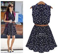 Com Belt 2014 verão Vestidos Femininos Plus Size mulheres Casual Vestido Sexy Ladies azul Vestidos gato De impressão Vestido De Festa em Vestidos de Roupas & acessórios no AliExpress.com | Alibaba Group