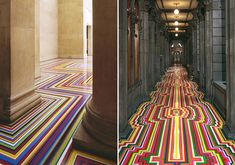 Since 1999, Glasgow-based artist Jim Lambie has used ordinary vinyl tape to transform spaces into visual wonders in his signature floor series Zobop. These labor intensive installations are meant to fill a space while still leaving it empty, creating the most colorful optical illusions. How delightfully psychedelic!