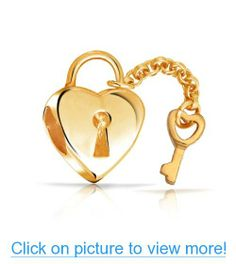 Valentines Day Gifts Bling Jewelry Gold Vermeil Lock Key Heart Bead Fits Pandora