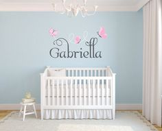 Personalized Name With Butterflies, Custom nursery vinyl wall decals stickers, nursery, kids  teens room, removable decals stickers