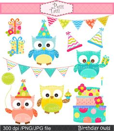Owl clip art , Digital clip art. for all use, Happy Birthday Owls 2, Teal, yellow, blue, green,cake, bunting. $4.80, via Etsy.
