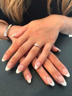 French acrylic nails by Kim French Nails French Manicure Acrylic Nails, Almond Acrylic Nails, French Nail Art, Acrylic Nail Designs, French Manicures, Oval Acrylic Nails, French Stiletto Nails, Almond Nail Art, Acrylic On Natural Nails