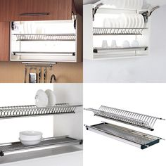Modern Stainless Steel Folding Dish Drying Dryer Rack Drainer Plate Bowl Storage Organizer Holder for Cabinet Width Fit for dish Load-carrying each layer. Kitchen Dishes, Kitchen Sets, Home Decor Kitchen, New Kitchen, Home Kitchens, Kitchen Cabinets, Kitchen Dining, Kitchen Cabinet Organization, Kitchen Storage