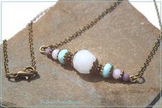Ketten mittellang - Kette mit Glasperlen weiß blau lila - ein Designerstück von DaBeaS-Perlenmaschen bei DaWanda