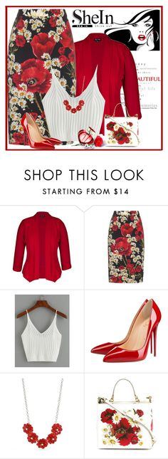 """SheIn ribbed knit crop cami top"" by lorrainekeenan ❤ liked on Polyvore featuring City Chic, Dolce&Gabbana, Christian Louboutin, Kim Rogers and plus size clothing"